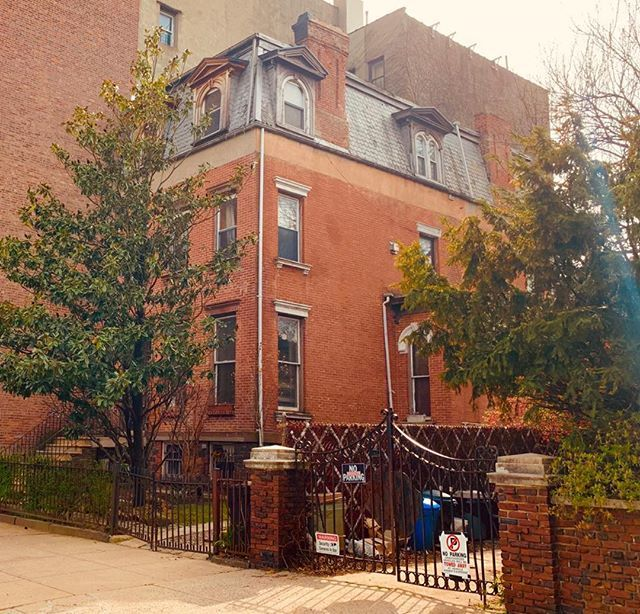 A driveway and a charming magnolia tree in Crown Heights. So inviting #townhouse…
