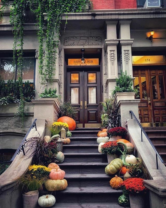 Lovely fall stoop.@ellenjoy26 . . . #townhousetherapy#townhouse#brownstone #reno…