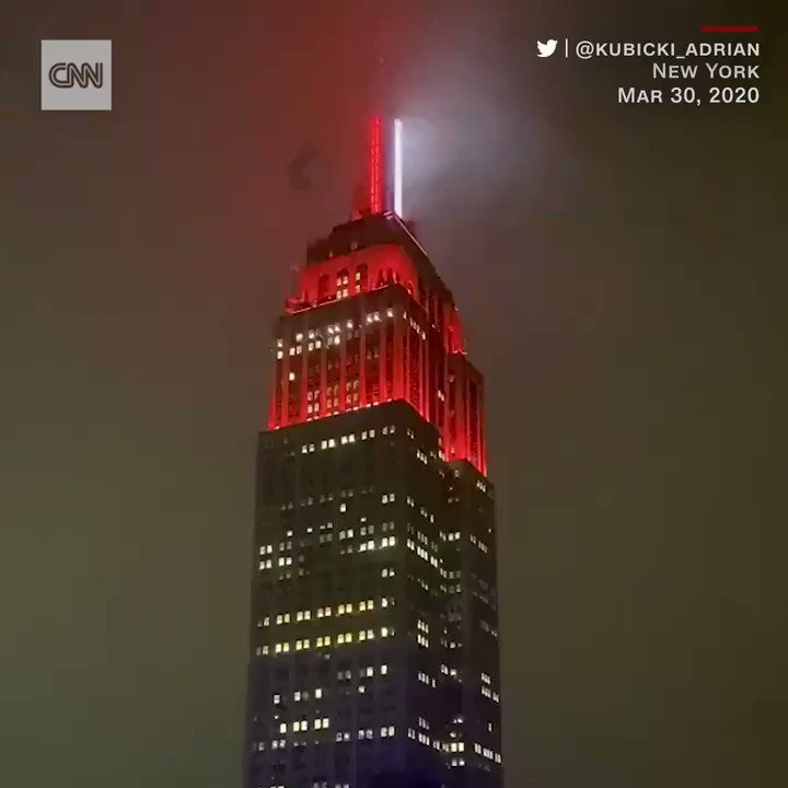 New York's Empire State Building was lit up like an ambulance siren on Monday ni…